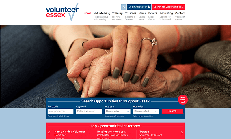 Dedicated volunteering website